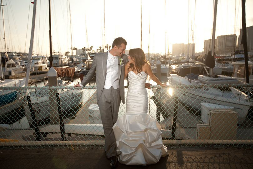Couple posing by the dock