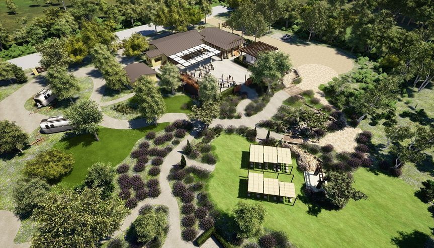 Aerial view of the Lavender& Olive estate