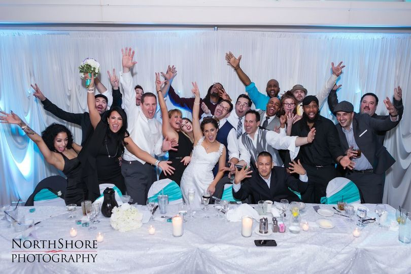Couple and wedding attendants