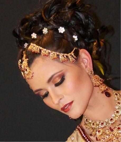 fusion wedding, indian bridal, bridal makeup, hair