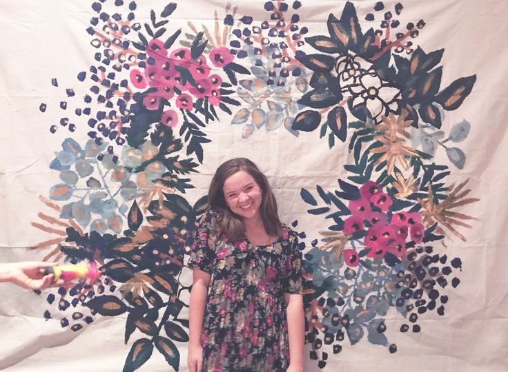 Hand-painted floral backdrop for courtney and hampton's wedding