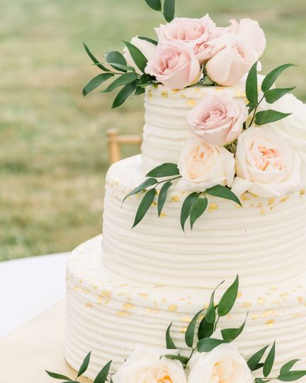 Cake with gold and greenery