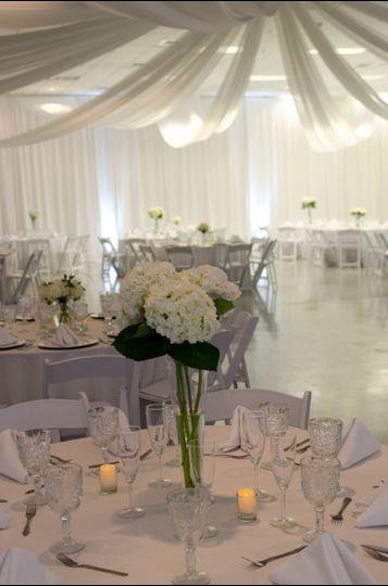 Tall white flower arrangement