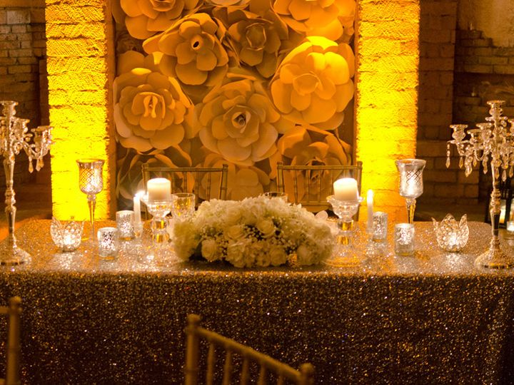 Tmx 1503520022635 Las Velas Houston Head Table Paper Flowers Backdro Houston wedding eventproduction