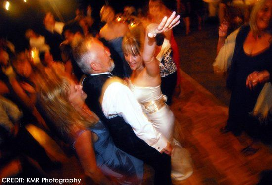 The dancefloor is hoppin' at this outdoor wedding located at private estate Rancho Soquel, just...