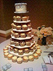 "Cupcake tower with 6"" round cutting cake serves 12, and 100 cupcakes"
