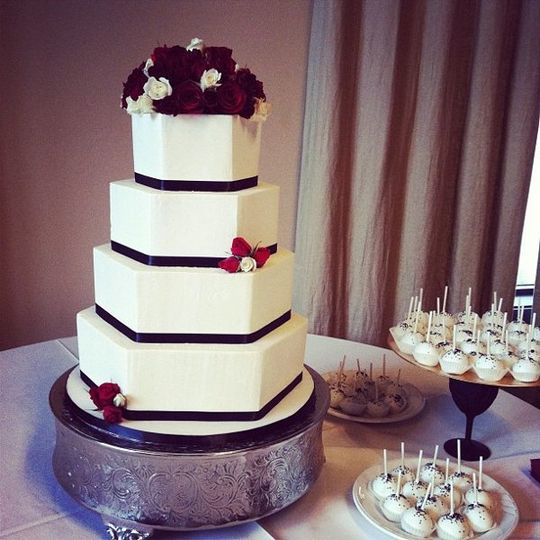 Hexagonal Wedding cake and cake pops