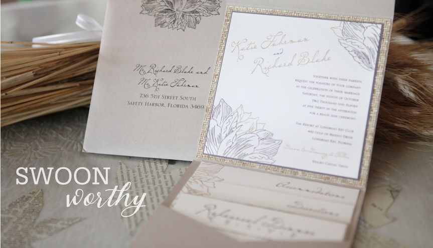 Custom Pocket Invitations  Copyright 2015 Hummingbird Invitation Studio. All Rights Reserved....