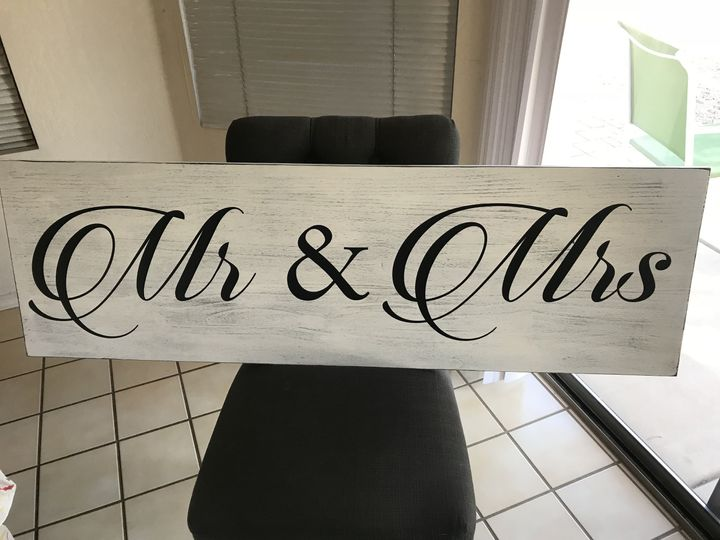 Mr & Mrs signs. Various sizes & colors. Can make small signs to go on the back of the Bride & Groom...