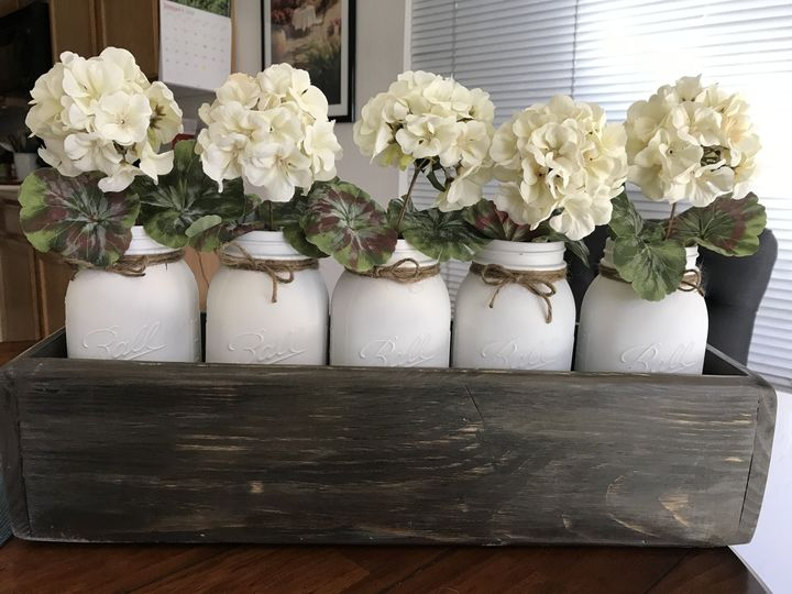 Centerpieces. Various wood types, sizes, colors & flowers.