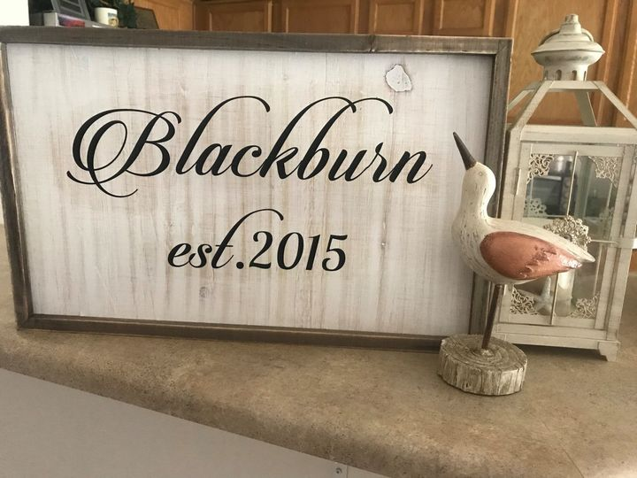 "Monogrammed est. signs with your name. Rustic sign 19"" long by 12"" high."