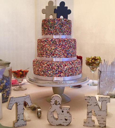 Three tier colorful wedding cake