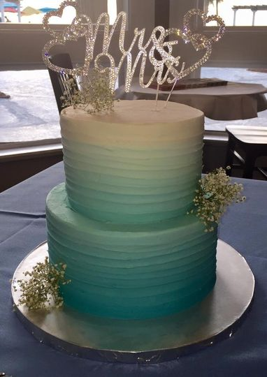 Two tier blue ombre wedding cake