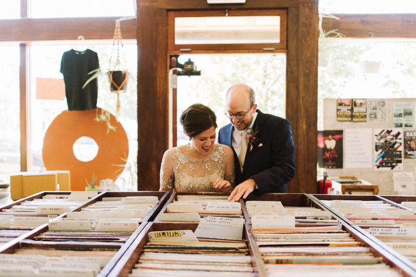 wedding portraits in record shop