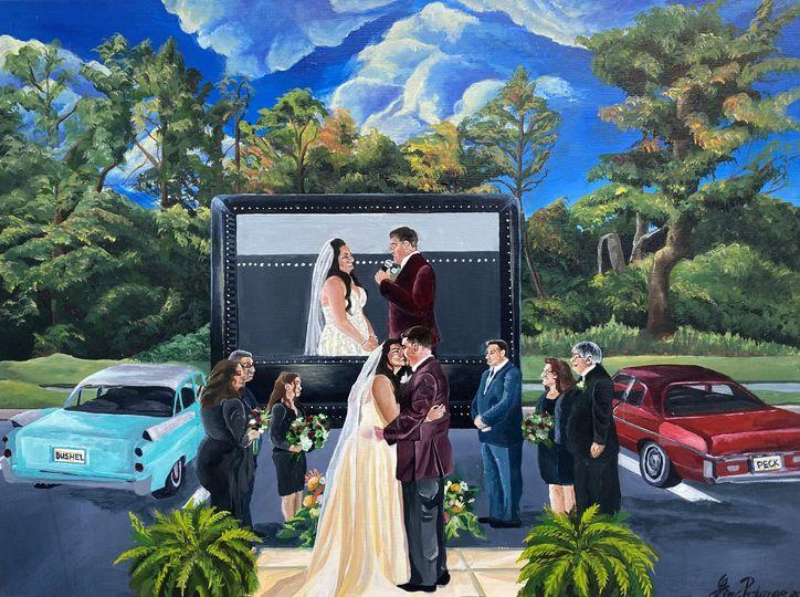 Drive in movie wedding