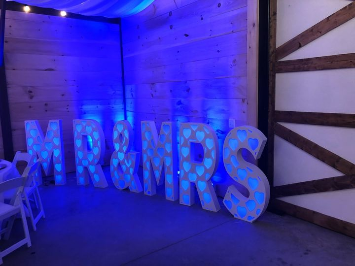 "4ft tall LED MARQUEE ""MR&MRS """