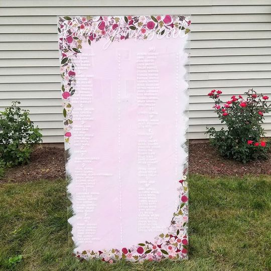 5ft easel with pressed flowers