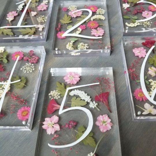 Pressed flower table numbers