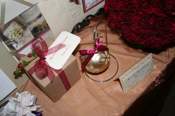Example of Holiday ball favor with packaging used as placecards.