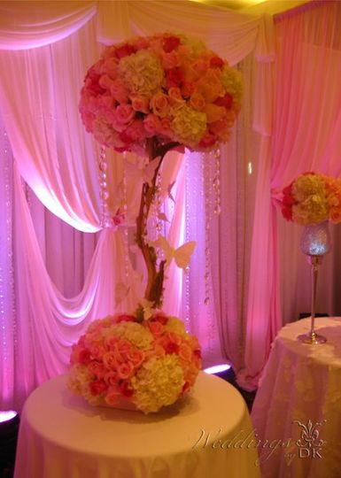 Floral Centerpiece, Lighting and Linen by Weddings by DK
