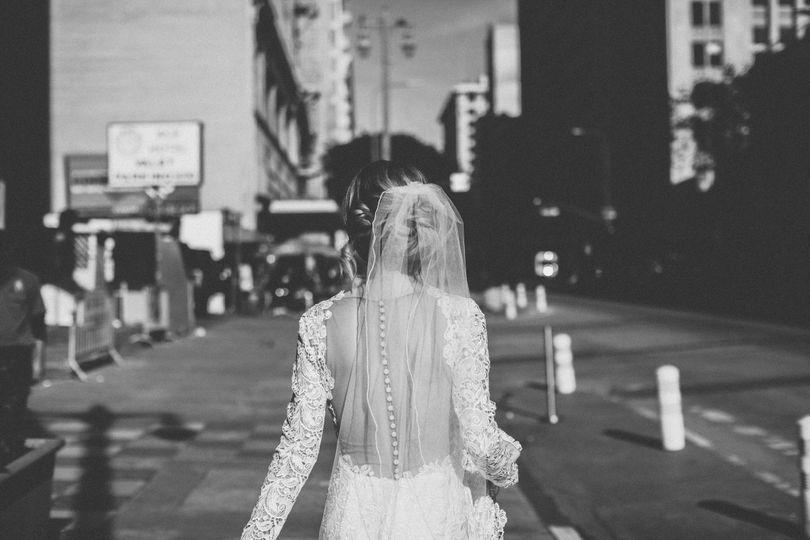 Bride in beautiful downtown Los Angeles