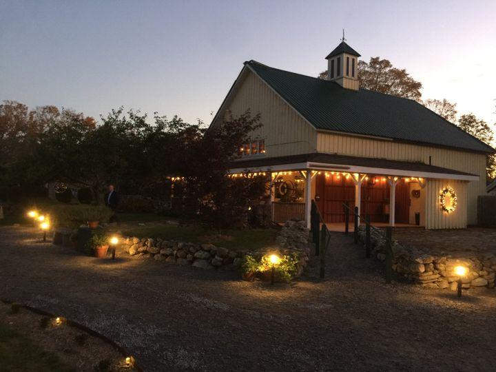 Barn exterior at night