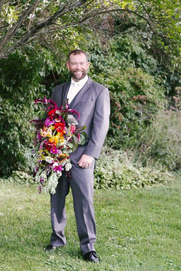Groom with bride bouquet