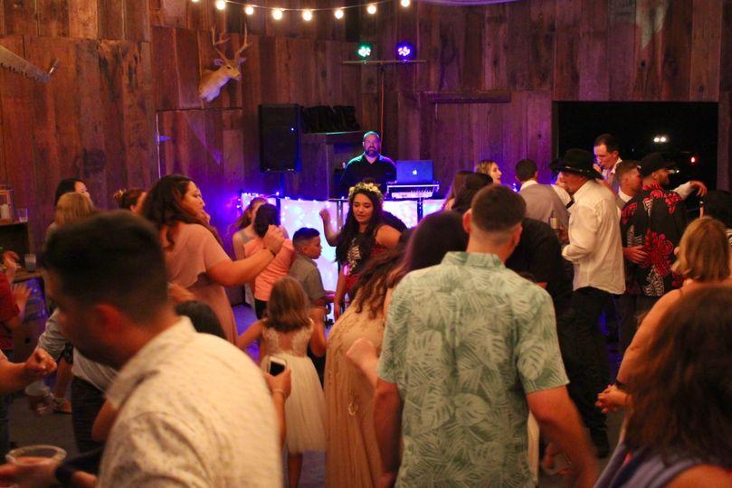 Barn wedding party