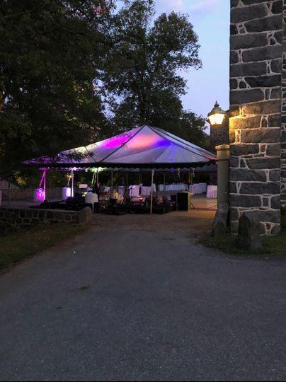 Tented reception, behind barn