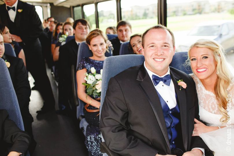 bridal party in bus