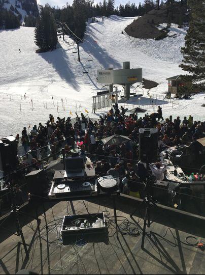 DJing at Canyon Lodge