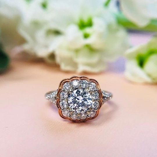 Copper outlined square ring