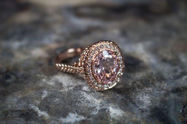 Gold metal diamond ring