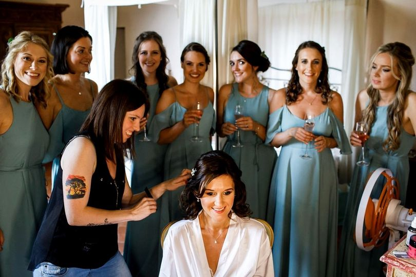 Getting ready with the bride