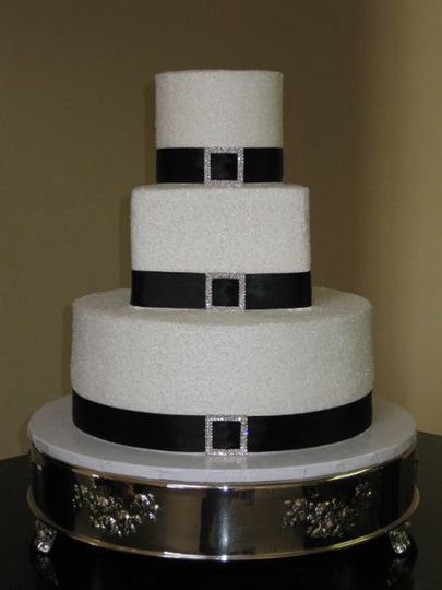 Black and white wedding cake with a touch of rhinestone specially made for katie and sean...
