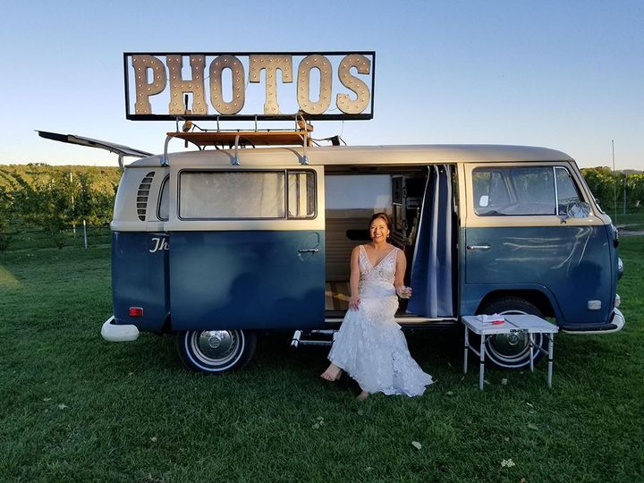 Bride with photo bus