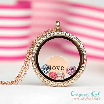 gold living locket with crystals and love plat