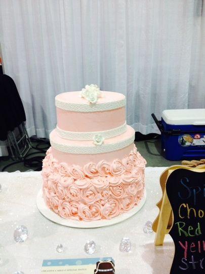 Baby pink wedding cake