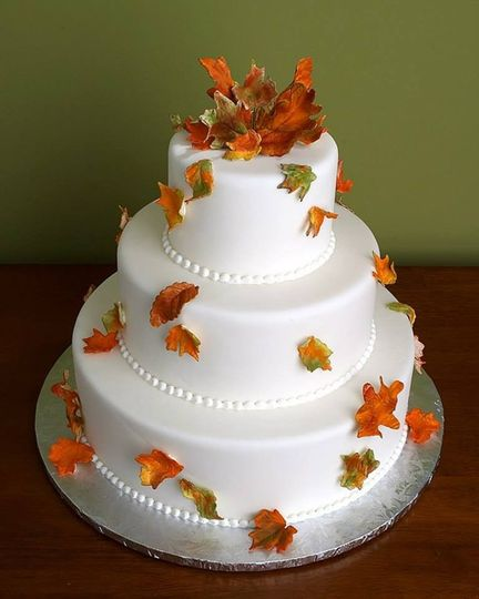 Leaves decorating the cake
