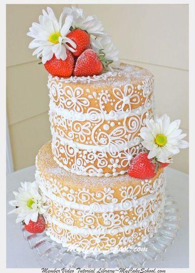 White pumpings on cake