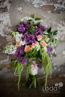 Lilac and peach spray rose bridal bouquet
