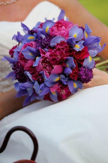 Iris and magenta peony bridal bouquet