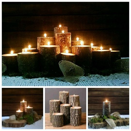 Log tealight holders, great as a group or individual.