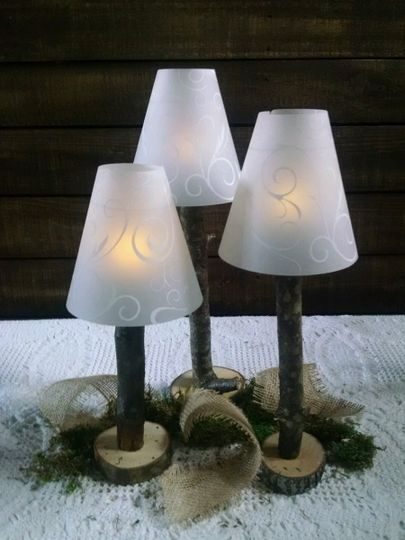 Battery operated tealight branch lamp with shade.