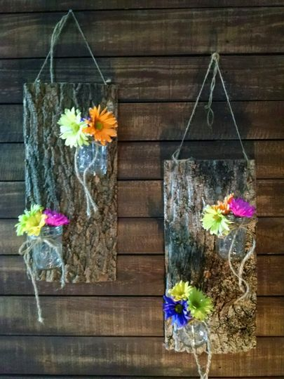 Bark siding used with mason jars for flowers or candles.