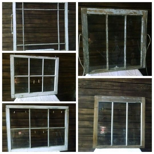 Window frames. Use for photo ops, menus, seating charts. Some have wire with small clothes pins.