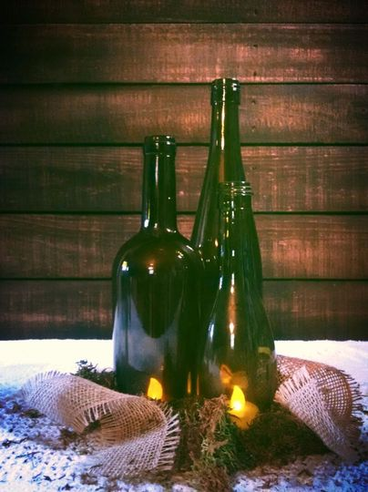 Cut wine bottles. Perfect for that vineyard reception.
