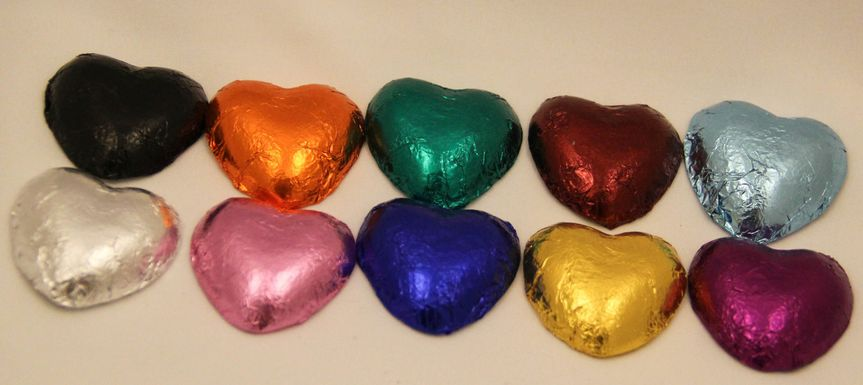 #1 Sellers - Chocolate foil hearts.  Your choice red, pink, light blue, royal blue, gold, emerald...