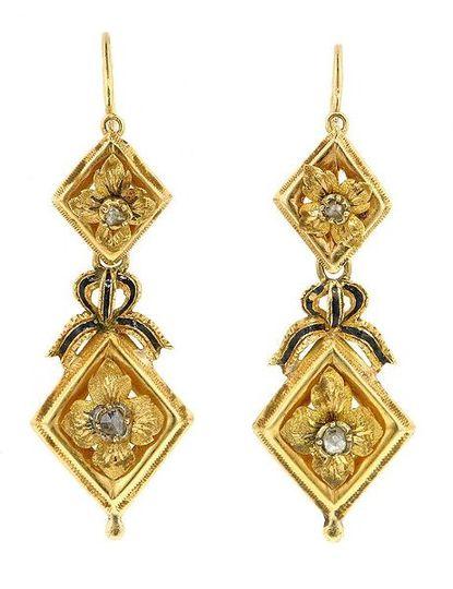Victorian Rose Cut Diamond and Enamel Earrings