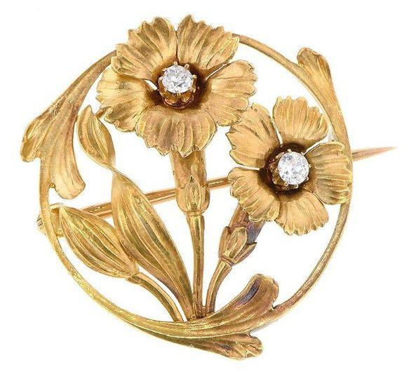 Art Nouveau Diamond Flower Brooch